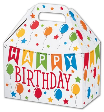 Birthday Banner Gable Boxes, 8 1/2 x 5 x 5 1/2""