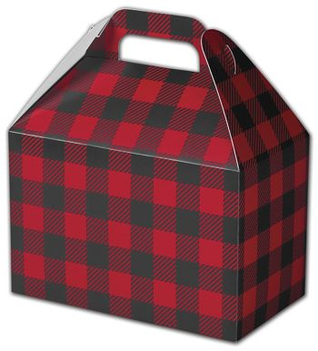 Buffalo Plaid Gable Boxes, 8 1/2 x 5 x 5 1/2