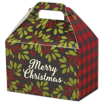 Christmas Plaid Gable Boxes, 8 1/2 x 5 x 5 1/2