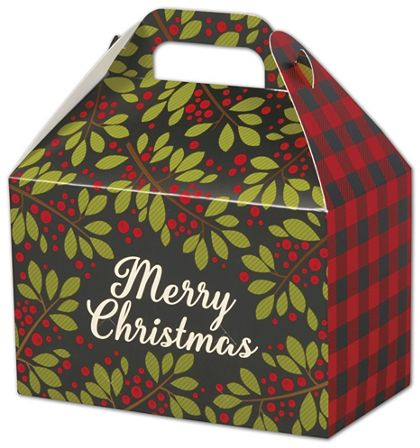 "Christmas Plaid Gable Boxes, 8 1/2 x 5 x 5 1/2"""
