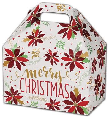 Christmas Poinsettia Gable Boxes, 8 1/2 x 5 x 5 1/2