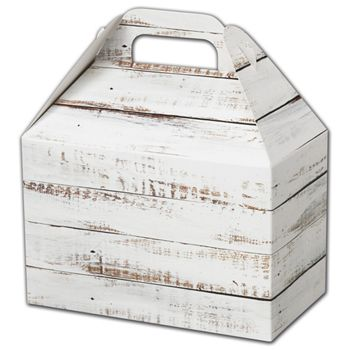 Distressed White Wood Gable Boxes, 8 1/2 x 5 x 5 1/2