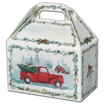 Farmhouse Christmas Gable Boxes, 8 1/2 x 5 x 5 1/2""