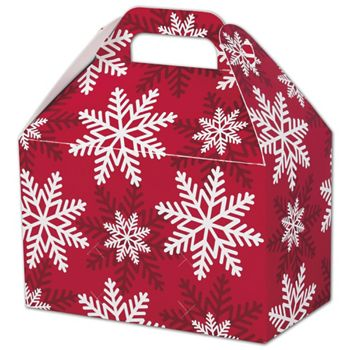 Red & White Snowflakes Gable Boxes, 8 1/2 x 5 x 5 1/2