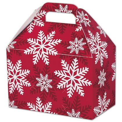 """Red & White Snowflakes Gable Boxes, 8 1/2 x 5 x 5 1/2"""""""