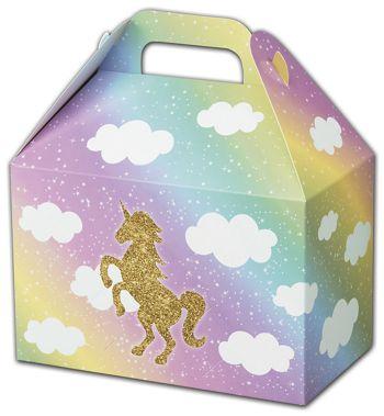 Glitter Unicorn Gable Boxes, 8 1/2 x 5 x 5 1/2