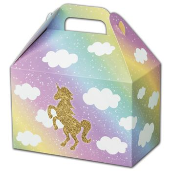 Glitter Unicorn Gable Boxes, 8 1/2 x 5 x 5 1/2