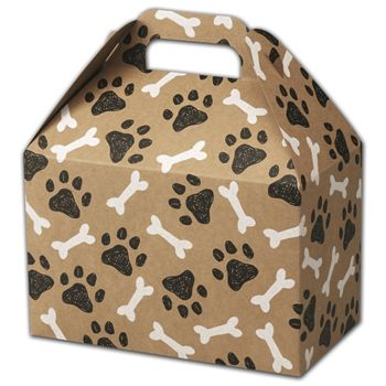 Kraft Paw Prints Gable Boxes, 8 1/2 x 5 x 5 1/2""