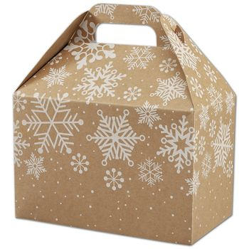 Kraft Snowflakes Gable Boxes, 8 1/2 x 5 x 5 1/2