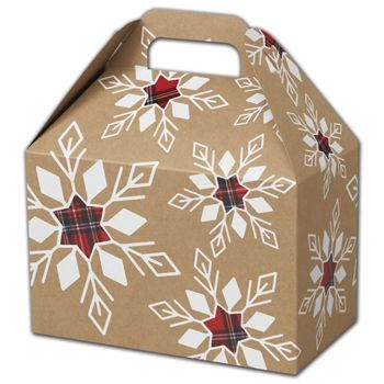 Plaid Snowflakes Gable Boxes, 8 1/2 x 5 x 5 1/2