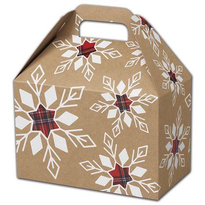 "Plaid Snowflakes Gable Boxes, 8 1/2 x 5 x 5 1/2"""