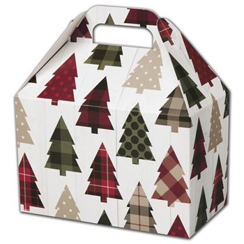 Rustic Trees Gable Boxes, 8 1/2 x 5 x 5 1/2