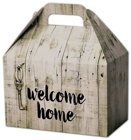 Rustic Welcome Home Gable Boxes, 8 1/2 x 5 x 5 1/2""