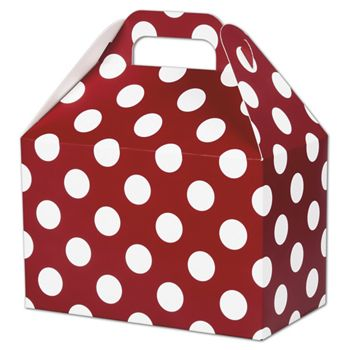 Red & White Dots Gable Boxes, 8 1/2 x 5 x 5 1/2