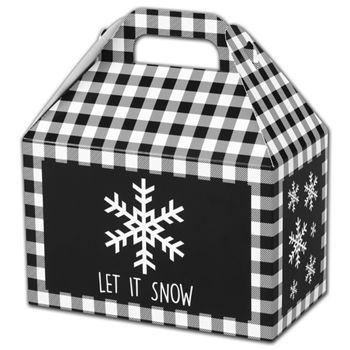 Let it Snow Plaid Gable Boxes, 8 1/2 x 5 x 5 1/2
