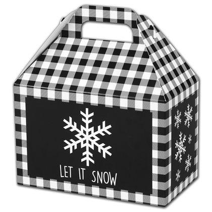 """Let it Snow Plaid Gable Boxes, 8 1/2 x 5 x 5 1/2"""""""