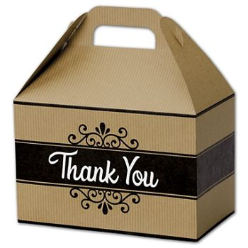 Thank You Kraft Stripes Gable Boxes, 8 1/2 x 5 x 5 1/2