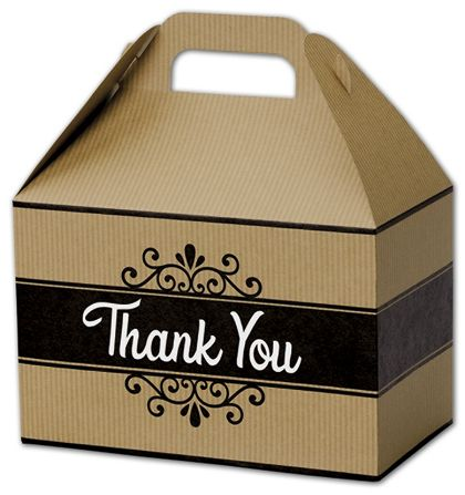 Thank You Kraft Stripes Gable Boxes, 8 1/2 x 5 x 5 1/2""