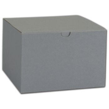 Grey One-Piece Gift Boxes, 8 x 8 x 3 1/2