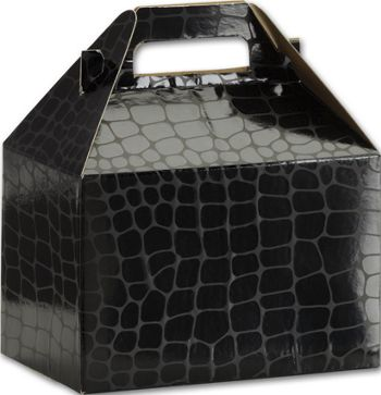 Black Croc Gable Boxes, 8 x 4 7/8 x 5 1/4