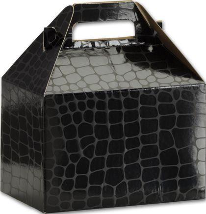 """Black Croc Gable Boxes, 8 x 4 7/8 x 5 1/4"""""""