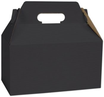 Black Varnish Striped Gable Boxes, 9 1/2 x 5 x 5