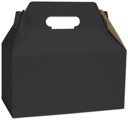 Black Varnish Striped Gable Boxes, 9 1/2 x 5 x 5""
