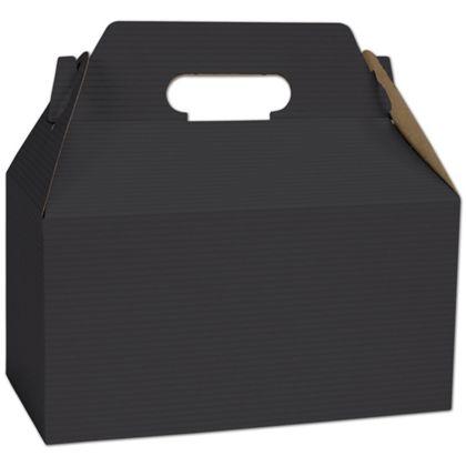 """Black Varnish Striped Gable Boxes, 9 1/2 x 5 x 5"""""""