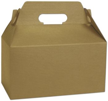 Gold Varnish Striped Gable Boxes, 9 1/2 x 5 x 5
