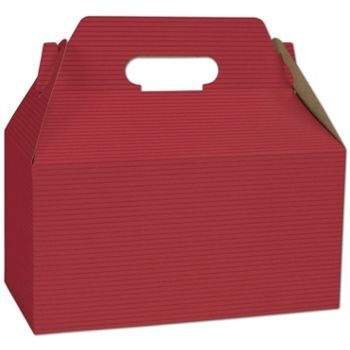 Red Varnish Striped Gable Boxes, 9 1/2 x 5 x 5