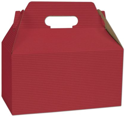 Red Varnish Striped Gable Boxes, 9 1/2 x 5 x 5""