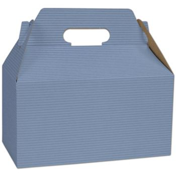 French Blue Varnish Striped Gable Boxes, 9 1/2 x 5 x 5