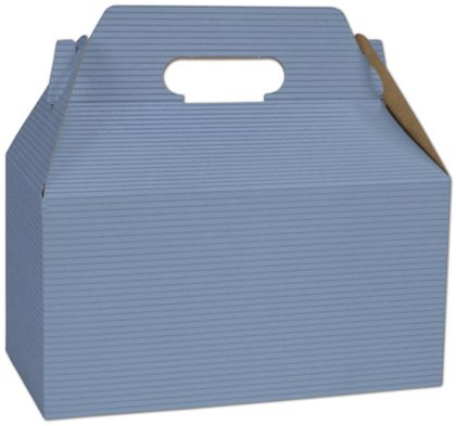 """French Blue Varnish Striped Gable Boxes, 9 1/2 x 5 x 5"""""""