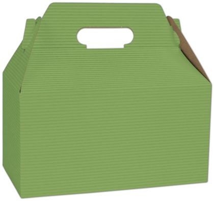 Apple Green Varnish Striped Gable Boxes, 9 1/2 x 5 x 5""