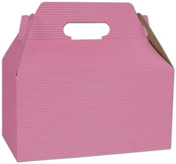 Pink Varnish Striped Gable Boxes, 9 1/2 x 5 x 5