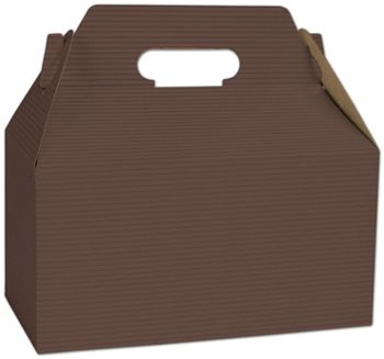 Brown Varnish Striped Gable Boxes, 9 1/2 x 5 x 5