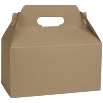 Kraft Varnish Striped Gable Boxes, 9 1/2 x 5 x 5""