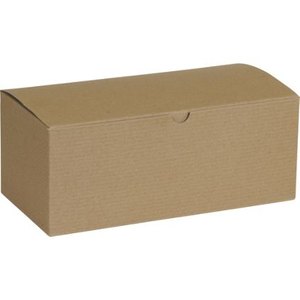 "Kraft One-Piece Gift Boxes, 10 x 5 x 4"""