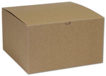 Kraft One-Piece Gift Boxes, 10 x 10 x 6