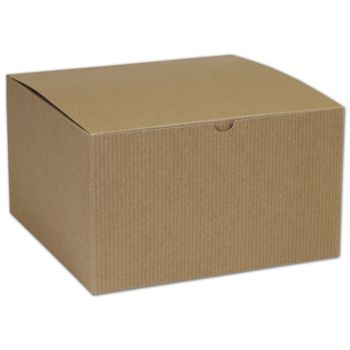 Kraft One-Piece Gift Boxes, 10 x 10 x 6