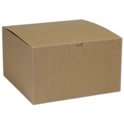 "Kraft One-Piece Gift Boxes, 10 x 10 x 6"""