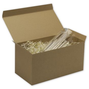 Kraft One-Piece Gift Boxes, 12 x 6 x 6