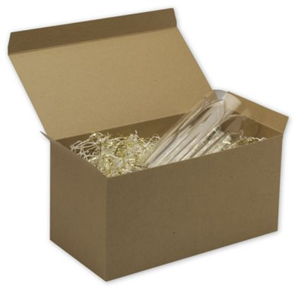 Kraft One-Piece Gift Boxes, 12 x 6 x 6""