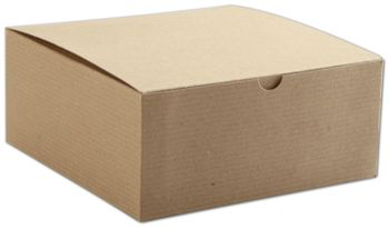 Kraft One-Piece Gift Boxes, 8 x 8 x 3 1/2