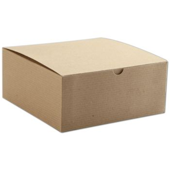 Kraft One-Piece Gift Boxes, 8 x 8 x 3 1/2""
