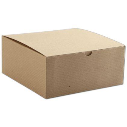 "Kraft One-Piece Gift Boxes, 8 x 8 x 3 1/2"""