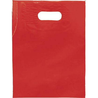 Red Low Density Patch Handle Bags, 9 x 12""