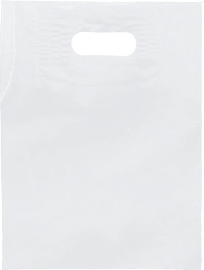 """White Low Density Patch Handle Bags, 9 x 12"""""""