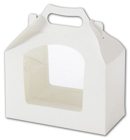 White Windowed Cupcake Gable Boxes, 2 Cupcakes