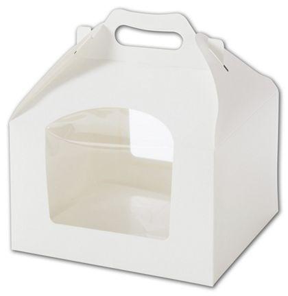 White Windowed Cupcake Gable Boxes, 4 Cupcakes